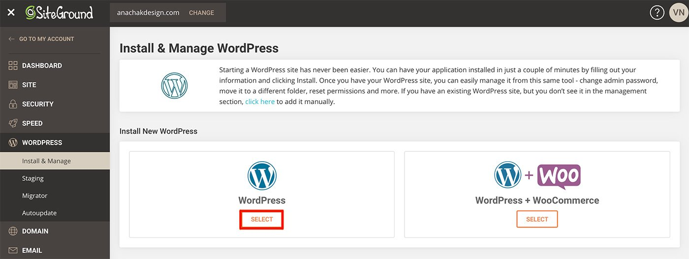 siteground with wordpress