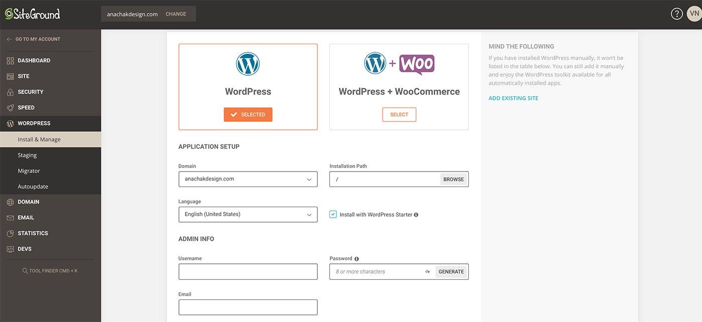 siteground and wordpress