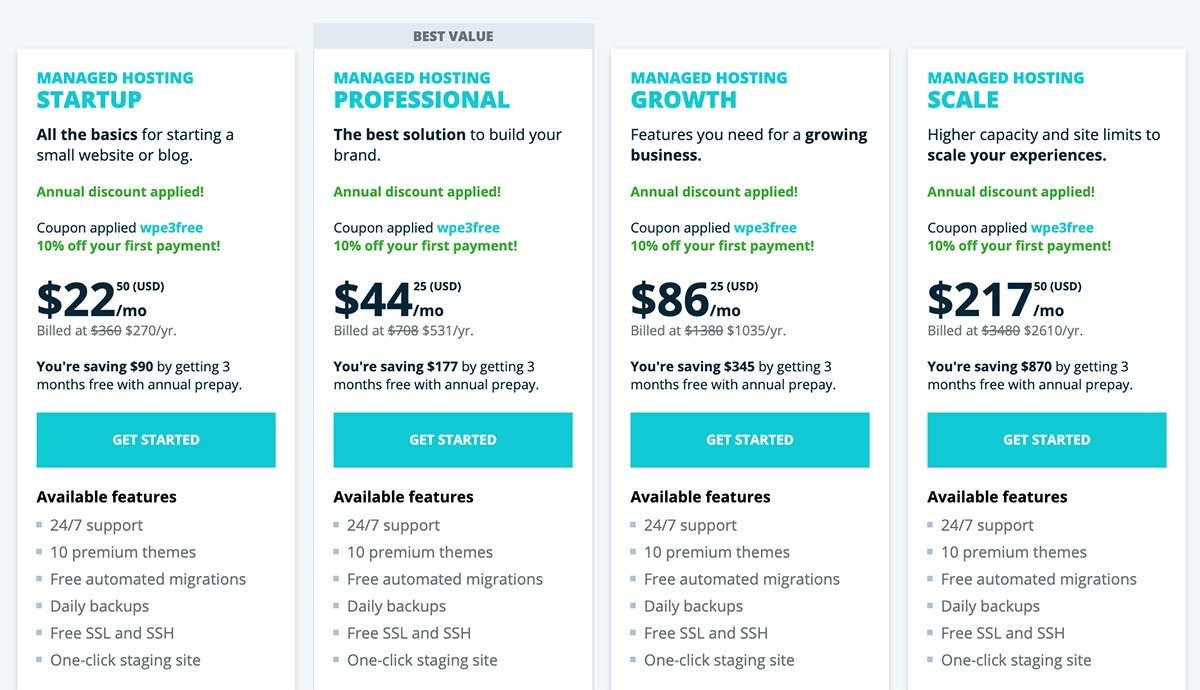 wp engine web hosting pricing